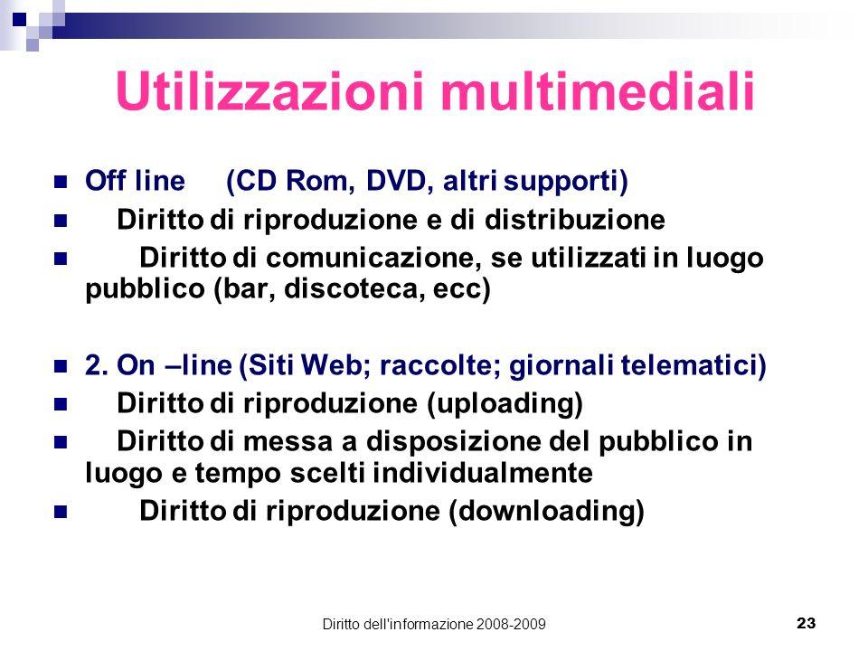 Diritto dell'informazione 2008-200923 Utilizzazioni multimediali Off line (CD Rom, DVD, altri supporti) Diritto di riproduzione e di distribuzione Dir