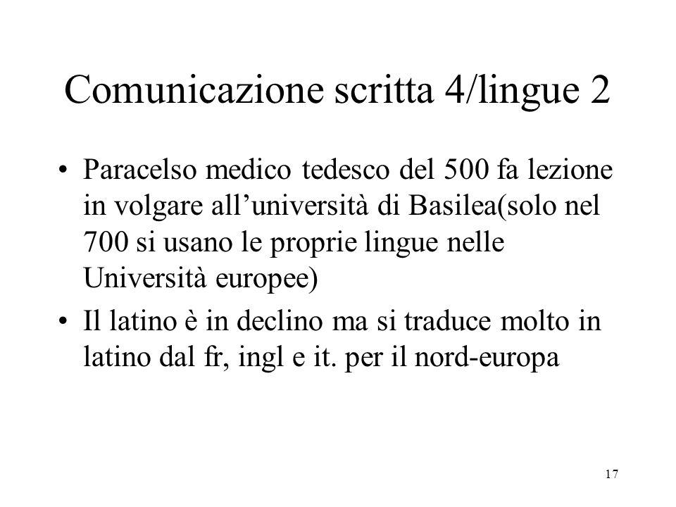 17 Comunicazione scritta 4/lingue 2 Paracelso medico tedesco del 500 fa lezione in volgare alluniversità di Basilea(solo nel 700 si usano le proprie l