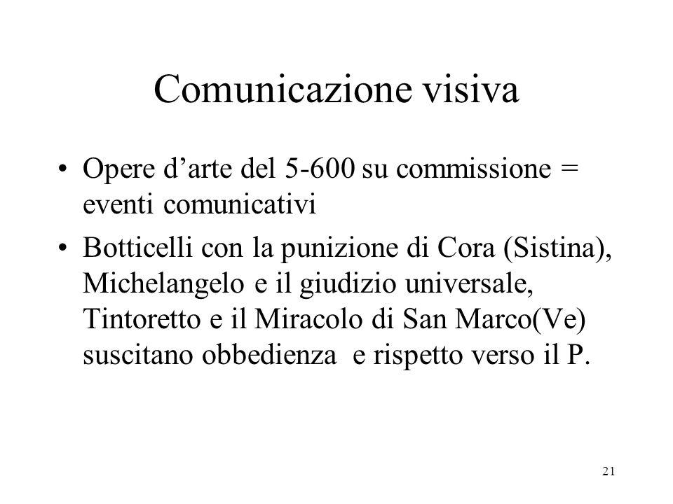 21 Comunicazione visiva Opere darte del 5-600 su commissione = eventi comunicativi Botticelli con la punizione di Cora (Sistina), Michelangelo e il gi