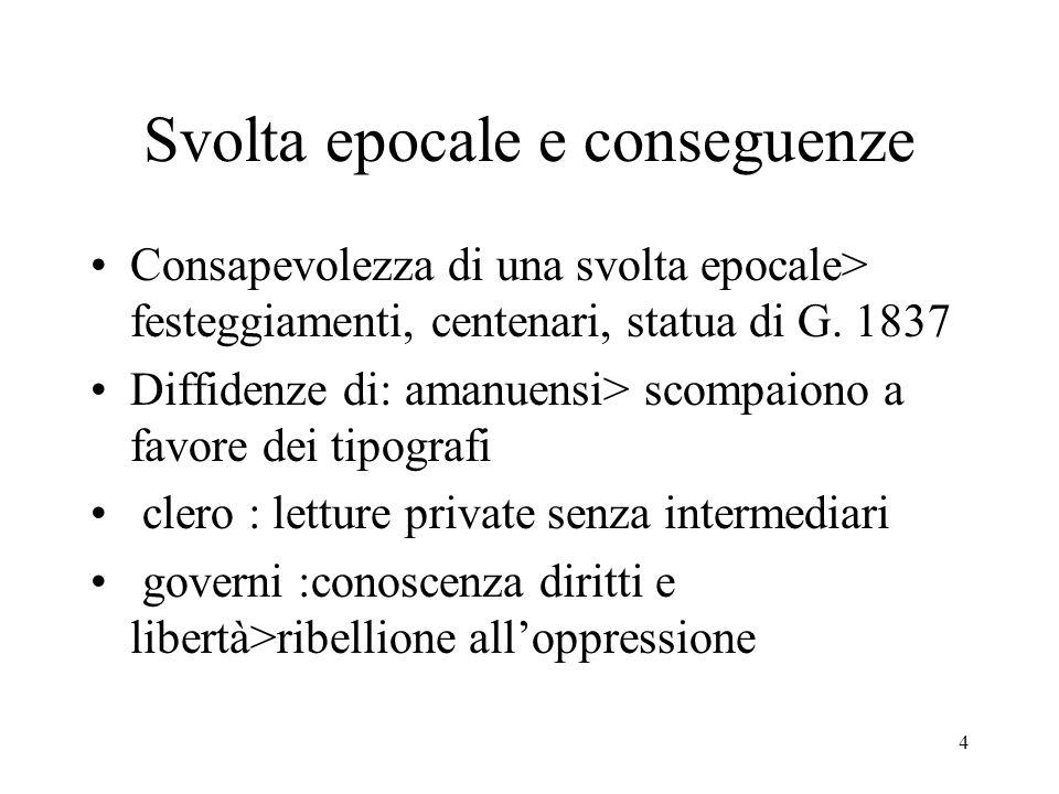 4 Svolta epocale e conseguenze Consapevolezza di una svolta epocale> festeggiamenti, centenari, statua di G. 1837 Diffidenze di: amanuensi> scompaiono