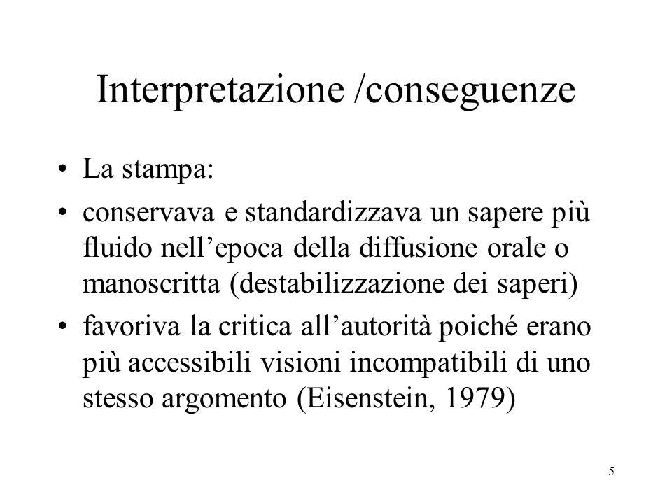 5 Interpretazione /conseguenze La stampa: conservava e standardizzava un sapere più fluido nellepoca della diffusione orale o manoscritta (destabilizz