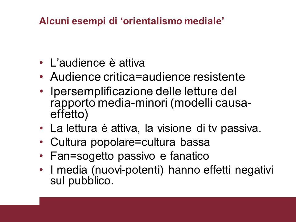 Alcuni esempi di orientalismo mediale Laudience è attiva Audience critica=audience resistente Ipersemplificazione delle letture del rapporto media-min