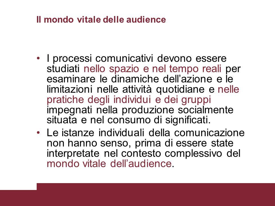 Il mondo vitale delle audience I processi comunicativi devono essere studiati nello spazio e nel tempo reali per esaminare le dinamiche dellazione e l