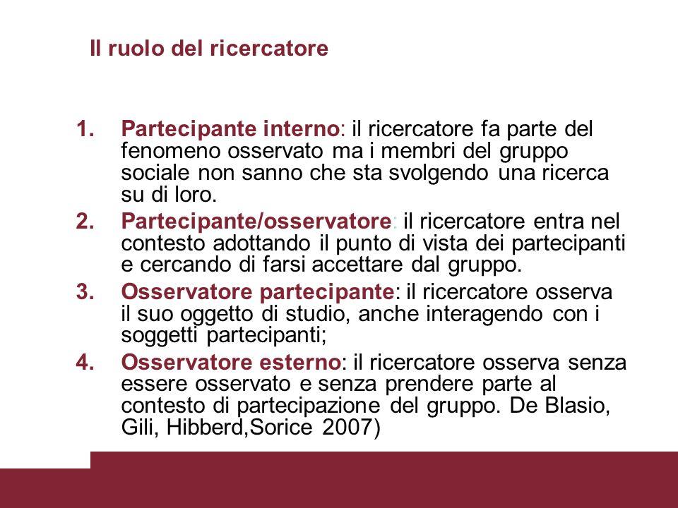 Il ruolo del ricercatore 1.Partecipante interno: il ricercatore fa parte del fenomeno osservato ma i membri del gruppo sociale non sanno che sta svolg