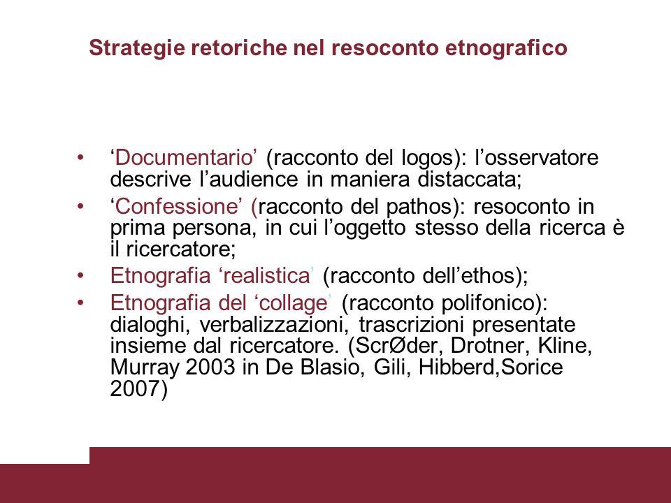 Strategie retoriche nel resoconto etnografico Documentario (racconto del logos): losservatore descrive laudience in maniera distaccata; Confessione (r