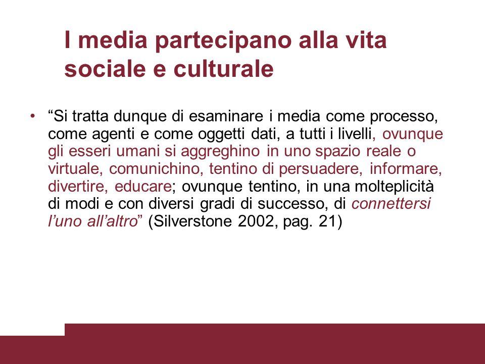 I media partecipano alla vita sociale e culturale Si tratta dunque di esaminare i media come processo, come agenti e come oggetti dati, a tutti i live