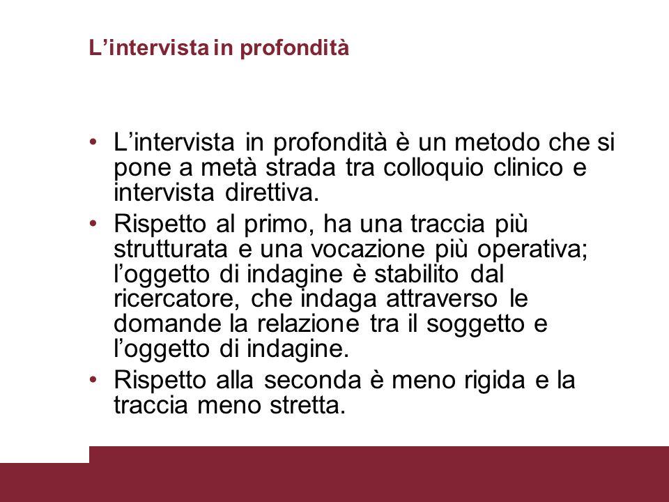 Lintervista in profondità Lintervista in profondità è un metodo che si pone a metà strada tra colloquio clinico e intervista direttiva. Rispetto al pr