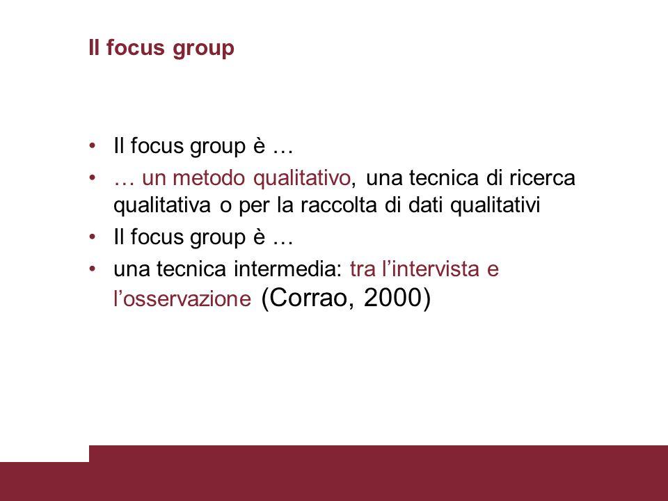 Il focus group Il focus group è … … un metodo qualitativo, una tecnica di ricerca qualitativa o per la raccolta di dati qualitativi Il focus group è …