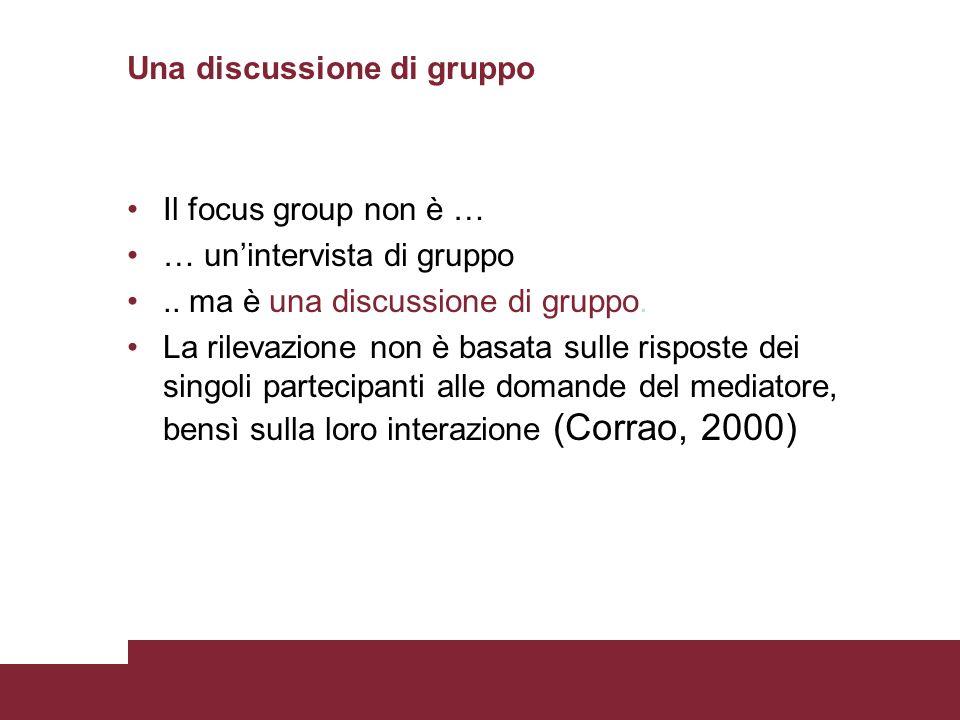 Una discussione di gruppo Il focus group non è … … unintervista di gruppo.. ma è una discussione di gruppo. La rilevazione non è basata sulle risposte