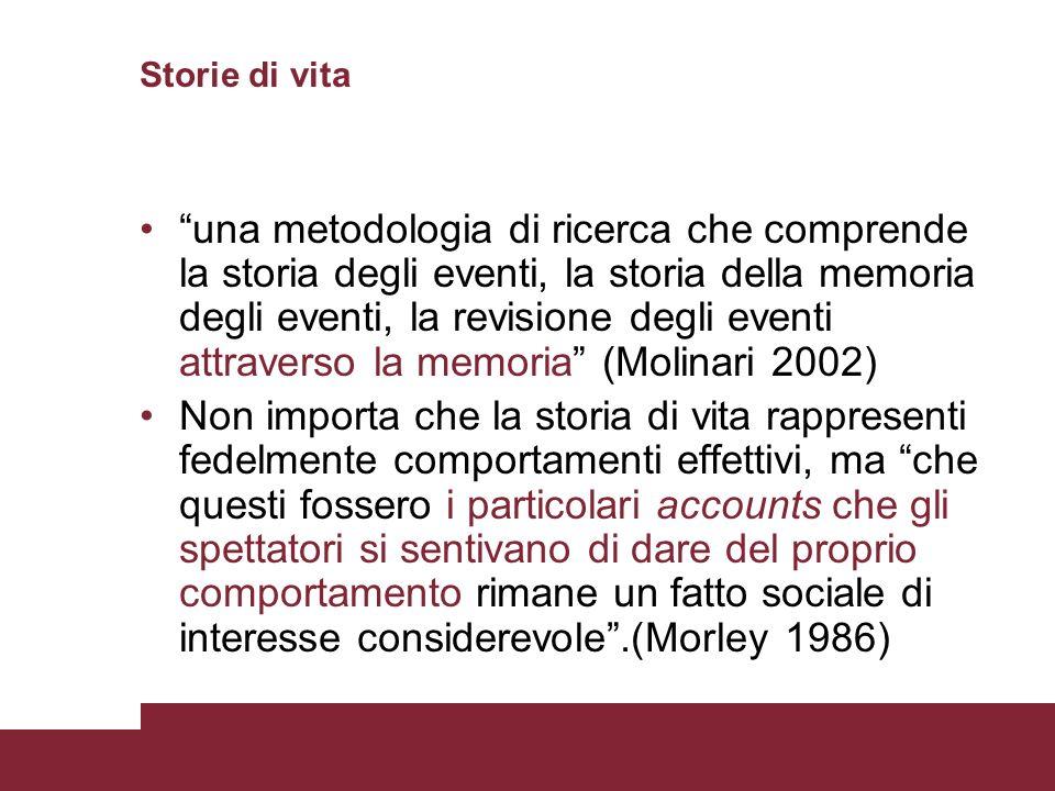 Storie di vita una metodologia di ricerca che comprende la storia degli eventi, la storia della memoria degli eventi, la revisione degli eventi attrav