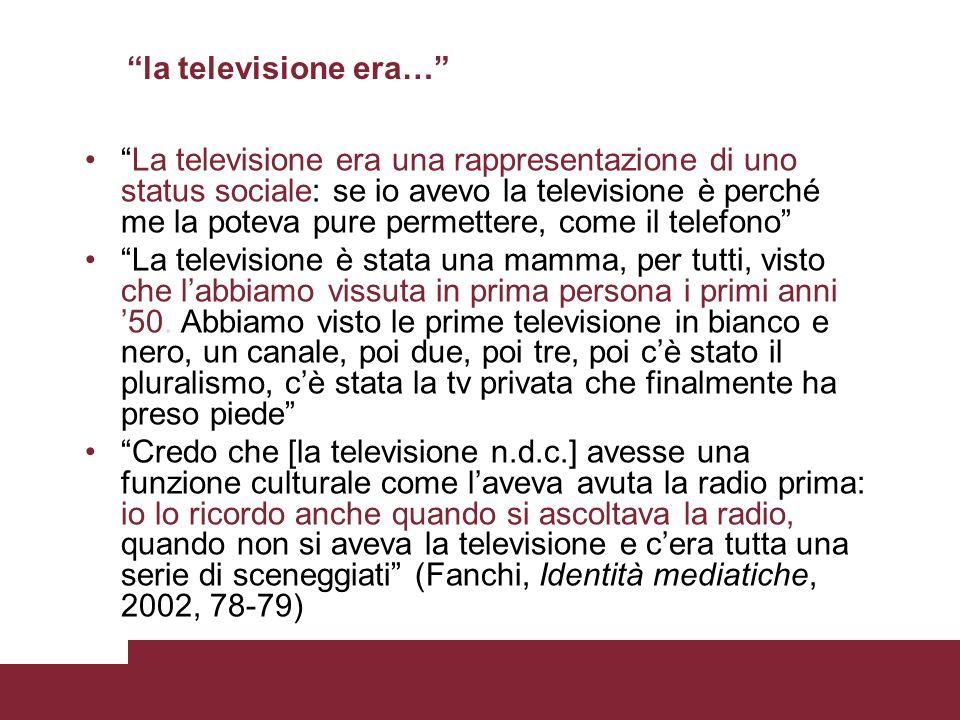 la televisione era… La televisione era una rappresentazione di uno status sociale: se io avevo la televisione è perché me la poteva pure permettere, c