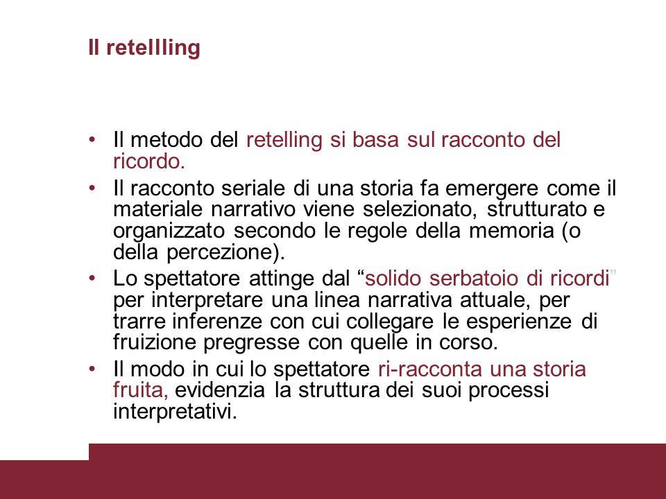Il retellling Il metodo del retelling si basa sul racconto del ricordo. Il racconto seriale di una storia fa emergere come il materiale narrativo vien