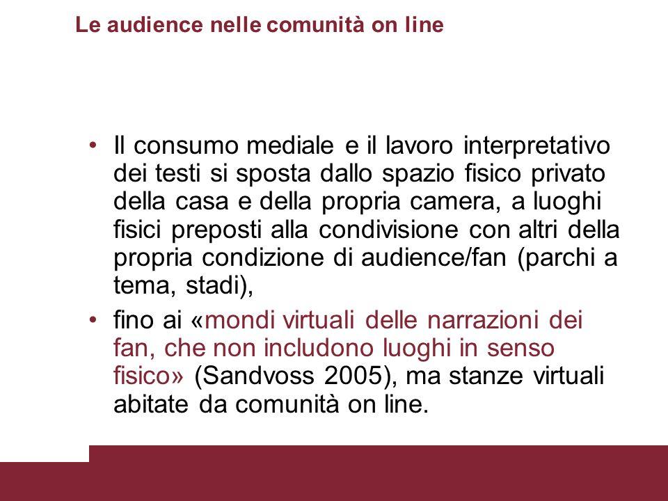 Le audience nelle comunità on line Il consumo mediale e il lavoro interpretativo dei testi si sposta dallo spazio fisico privato della casa e della pr