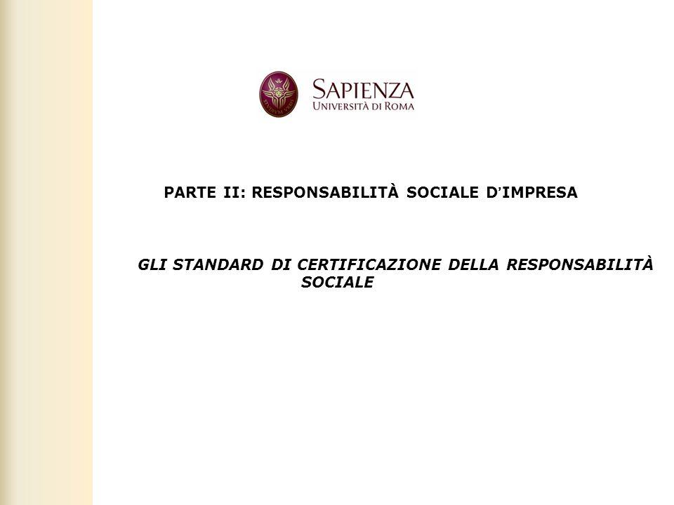Facoltà di Scienze politiche, sociali e della comunicazione – A.A. 2010-2011 | Responsabilità sociale dimpresa | Prof. Claudio Cipollini 1 PARTE II: R