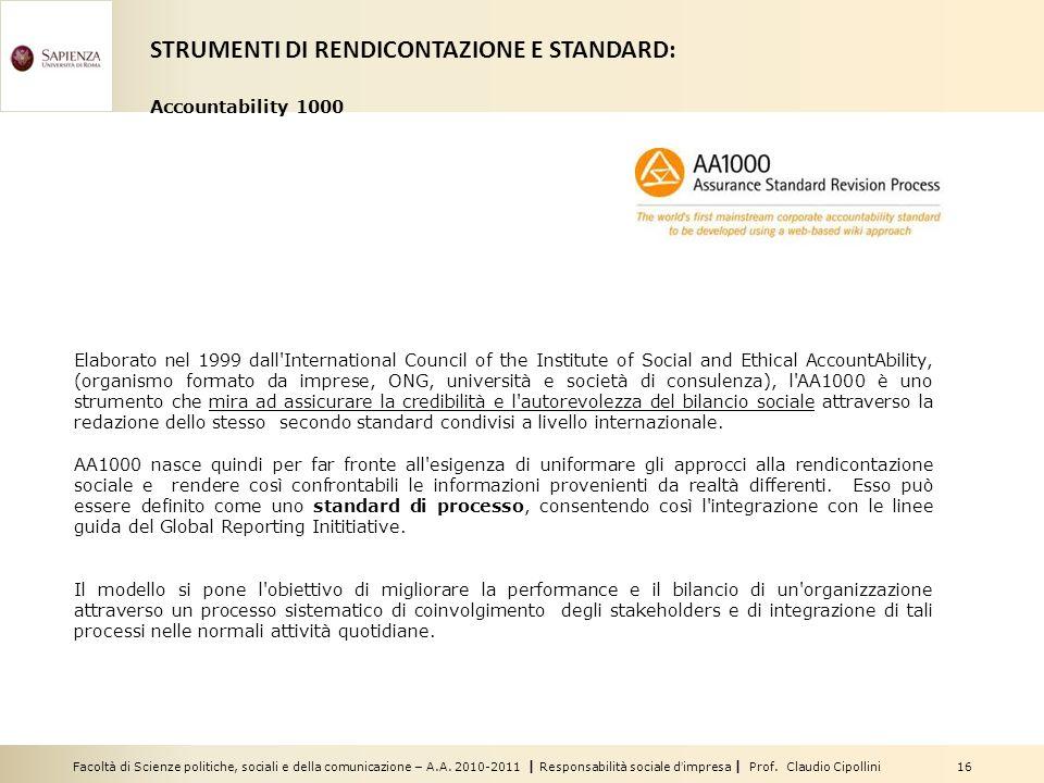 Facoltà di Scienze politiche, sociali e della comunicazione – A.A. 2010-2011 | Responsabilità sociale dimpresa | Prof. Claudio Cipollini 16 Elaborato