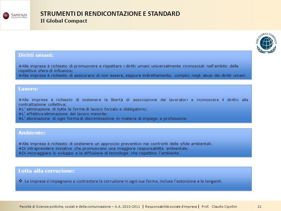 Facoltà di Scienze politiche, sociali e della comunicazione – A.A. 2010-2011 | Responsabilità sociale dimpresa | Prof. Claudio Cipollini 21 Diritti um