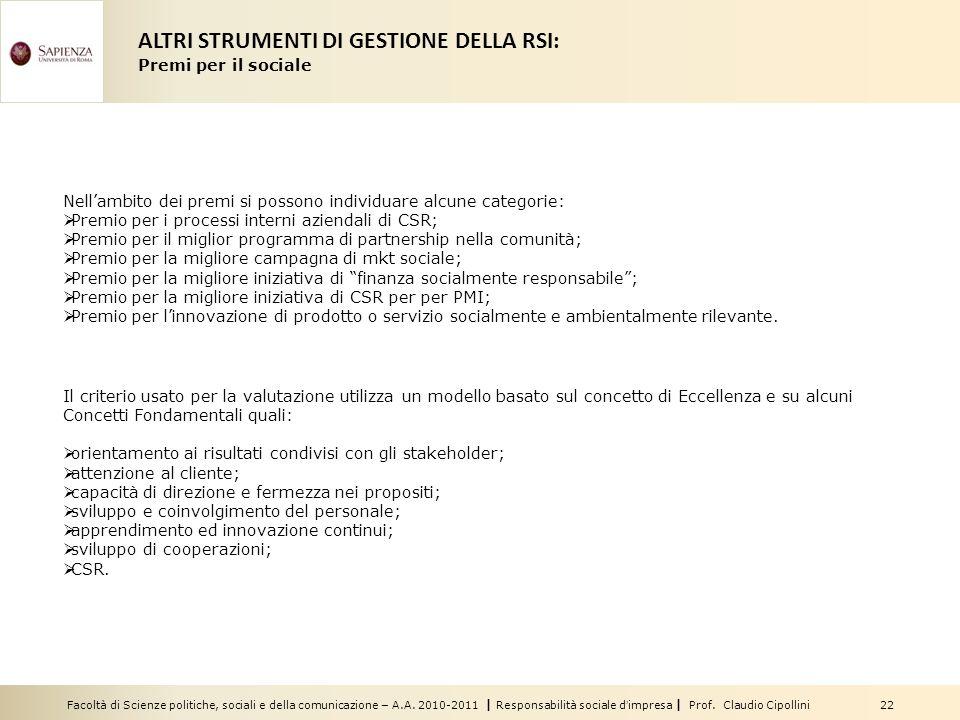 Facoltà di Scienze politiche, sociali e della comunicazione – A.A. 2010-2011 | Responsabilità sociale dimpresa | Prof. Claudio Cipollini 22 Nellambito