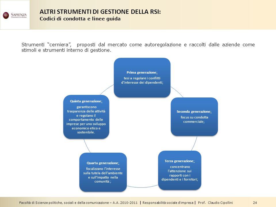 Facoltà di Scienze politiche, sociali e della comunicazione – A.A. 2010-2011 | Responsabilità sociale dimpresa | Prof. Claudio Cipollini 24 Strumenti
