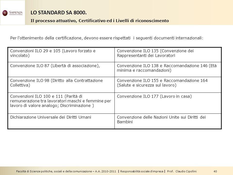Facoltà di Scienze politiche, sociali e della comunicazione – A.A. 2010-2011 | Responsabilità sociale dimpresa | Prof. Claudio Cipollini 40 Per l'otte