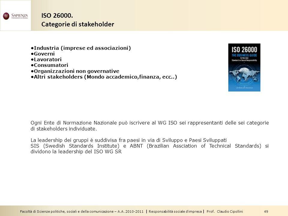 Facoltà di Scienze politiche, sociali e della comunicazione – A.A. 2010-2011 | Responsabilità sociale dimpresa | Prof. Claudio Cipollini 49 ISO 26000.