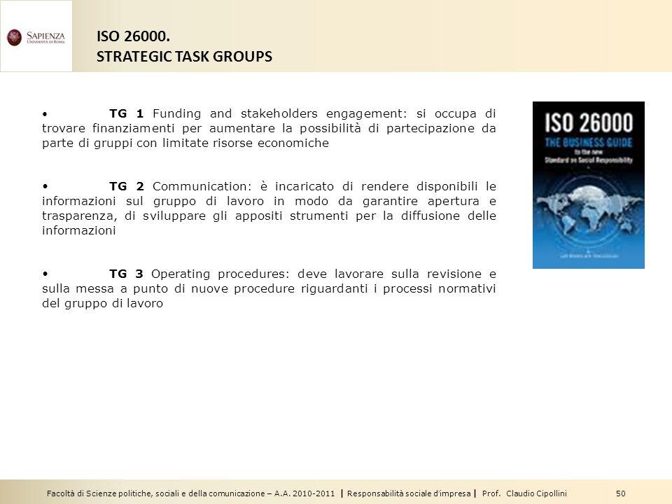 Facoltà di Scienze politiche, sociali e della comunicazione – A.A. 2010-2011 | Responsabilità sociale dimpresa | Prof. Claudio Cipollini 50 ISO 26000.