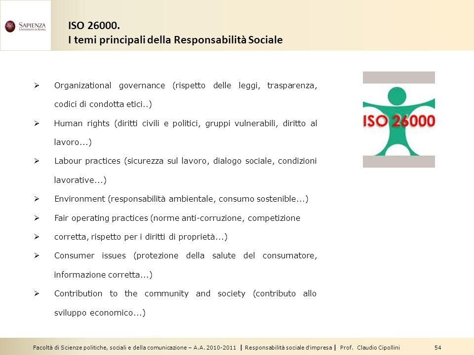 Facoltà di Scienze politiche, sociali e della comunicazione – A.A. 2010-2011 | Responsabilità sociale dimpresa | Prof. Claudio Cipollini 54 ISO 26000.