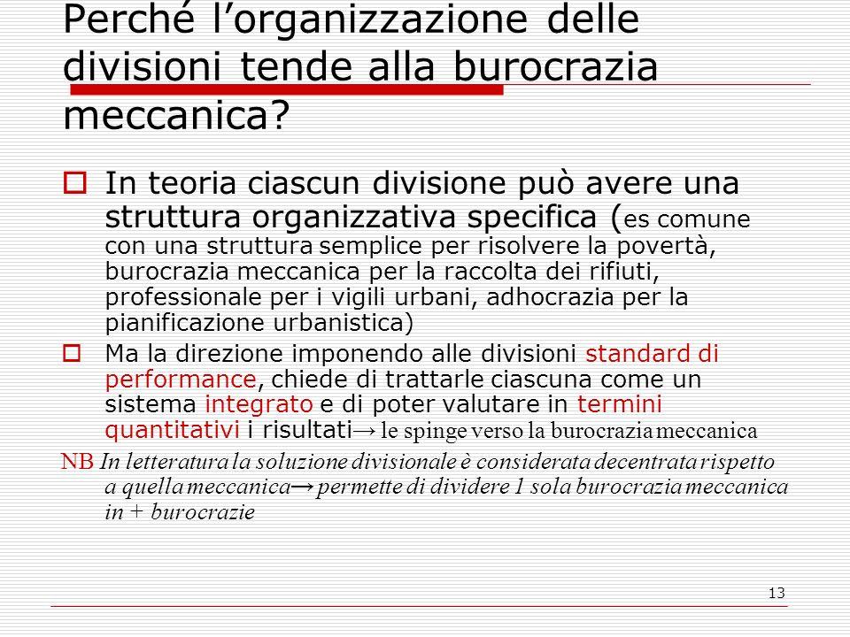 13 Perché lorganizzazione delle divisioni tende alla burocrazia meccanica.