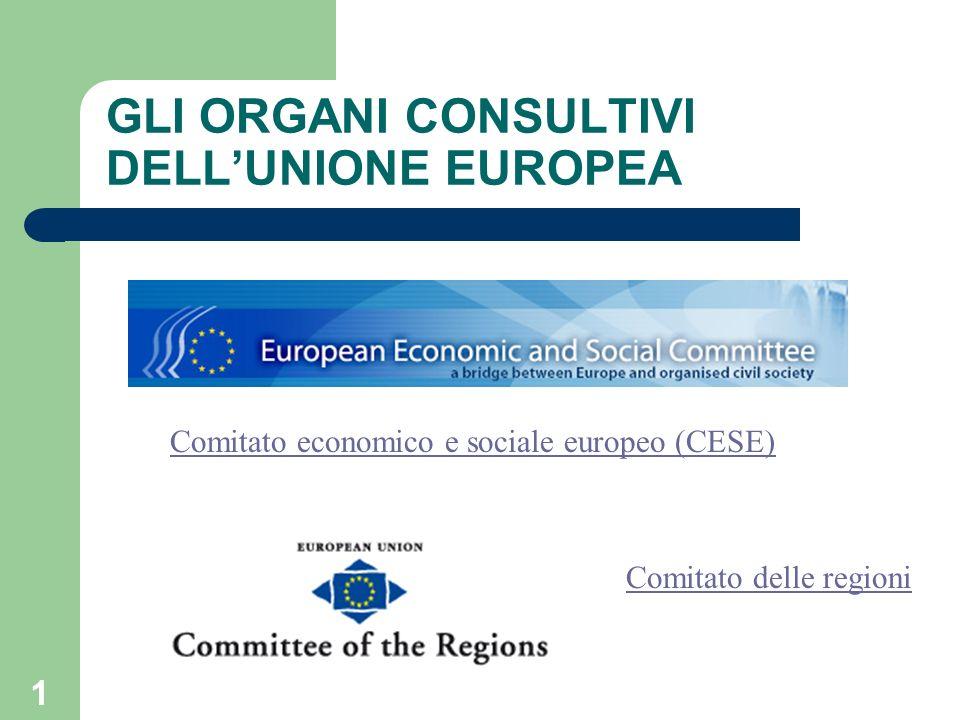 1 GLI ORGANI CONSULTIVI DELLUNIONE EUROPEA Comitato economico e sociale europeo (CESE) Comitato delle regioni