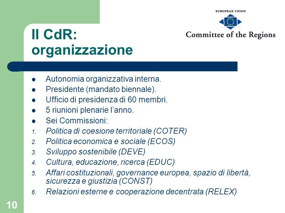 10 Il CdR: organizzazione Autonomia organizzativa interna. Presidente (mandato biennale). Ufficio di presidenza di 60 membri. 5 riunioni plenarie lann
