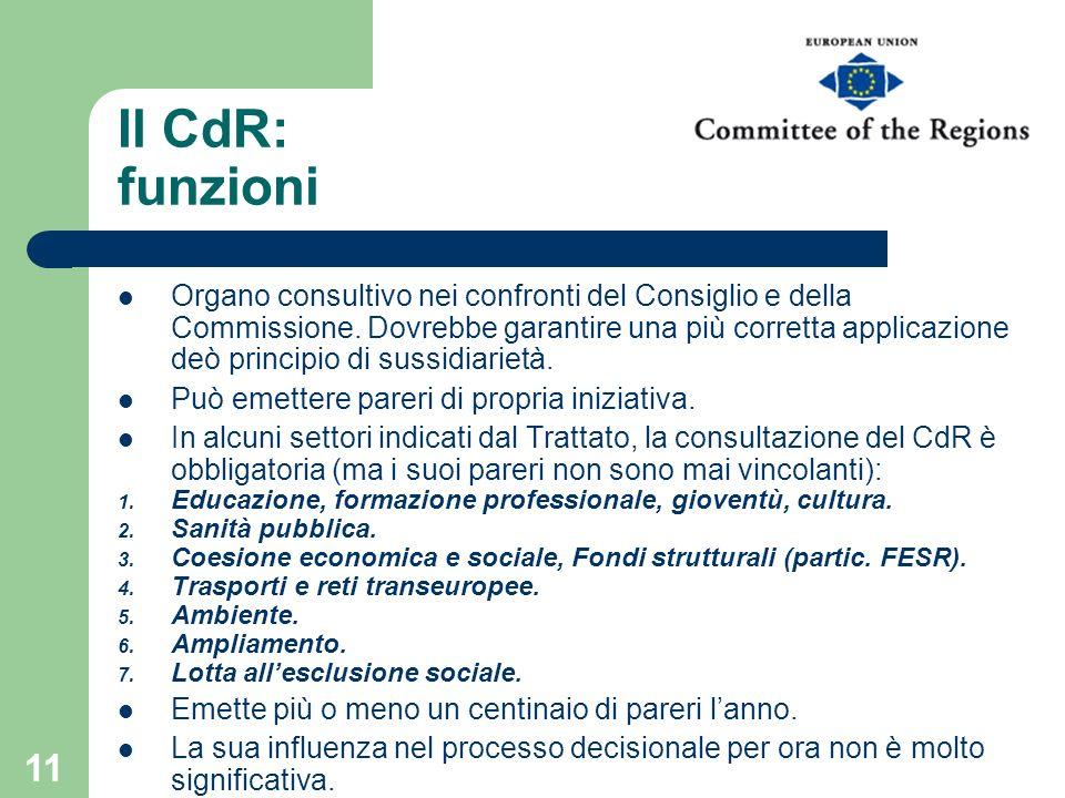 11 Il CdR: funzioni Organo consultivo nei confronti del Consiglio e della Commissione. Dovrebbe garantire una più corretta applicazione deò principio