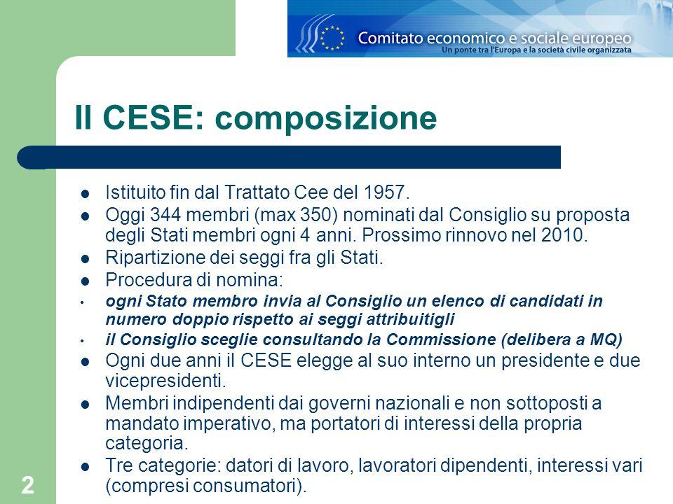 2 Il CESE: composizione Istituito fin dal Trattato Cee del 1957. Oggi 344 membri (max 350) nominati dal Consiglio su proposta degli Stati membri ogni