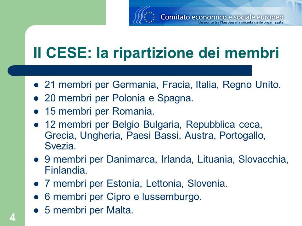 4 Il CESE: la ripartizione dei membri 21 membri per Germania, Fracia, Italia, Regno Unito. 20 membri per Polonia e Spagna. 15 membri per Romania. 12 m