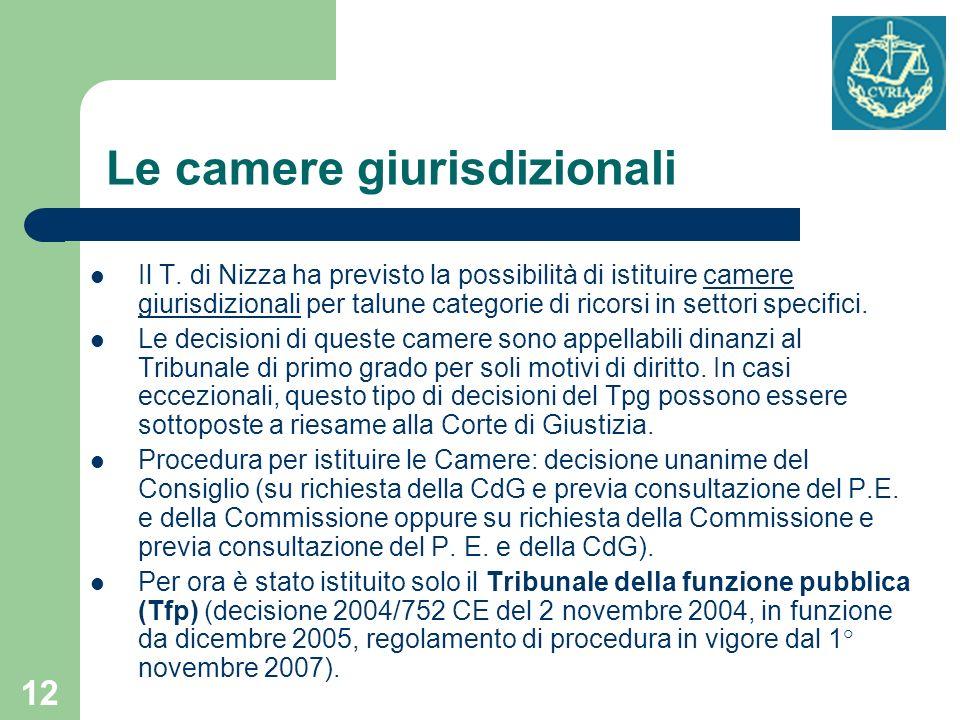12 Le camere giurisdizionali Il T. di Nizza ha previsto la possibilità di istituire camere giurisdizionali per talune categorie di ricorsi in settori