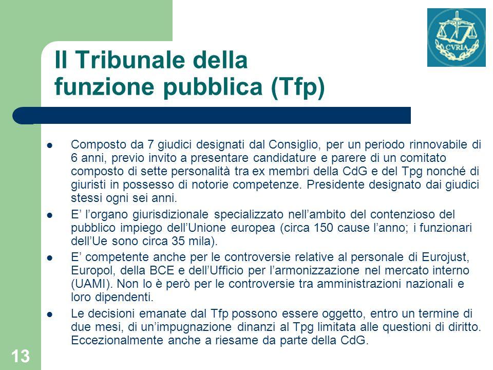 13 Il Tribunale della funzione pubblica (Tfp) Composto da 7 giudici designati dal Consiglio, per un periodo rinnovabile di 6 anni, previo invito a pre