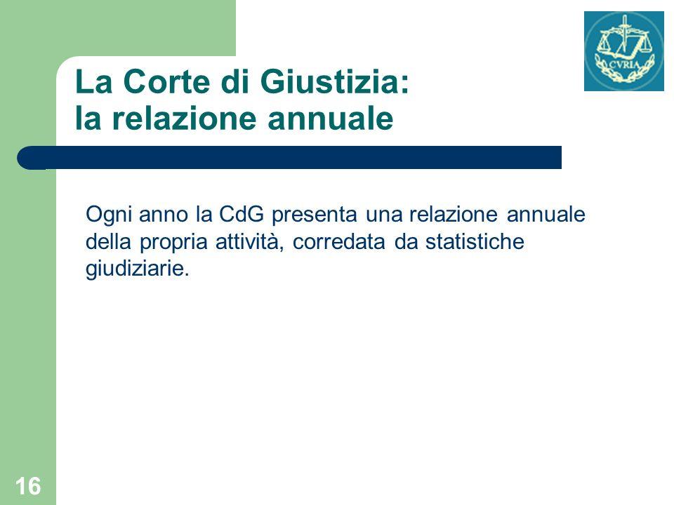 16 La Corte di Giustizia: la relazione annuale Ogni anno la CdG presenta una relazione annuale della propria attività, corredata da statistiche giudiz