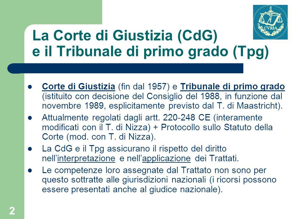 2 La Corte di Giustizia (CdG) e il Tribunale di primo grado (Tpg) Corte di Giustizia (fin dal 1957) e Tribunale di primo grado (istituito con decision