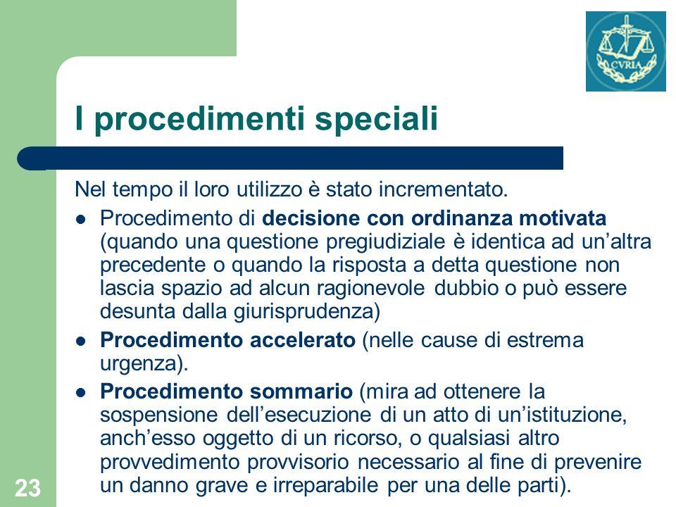23 I procedimenti speciali Nel tempo il loro utilizzo è stato incrementato. Procedimento di decisione con ordinanza motivata (quando una questione pre