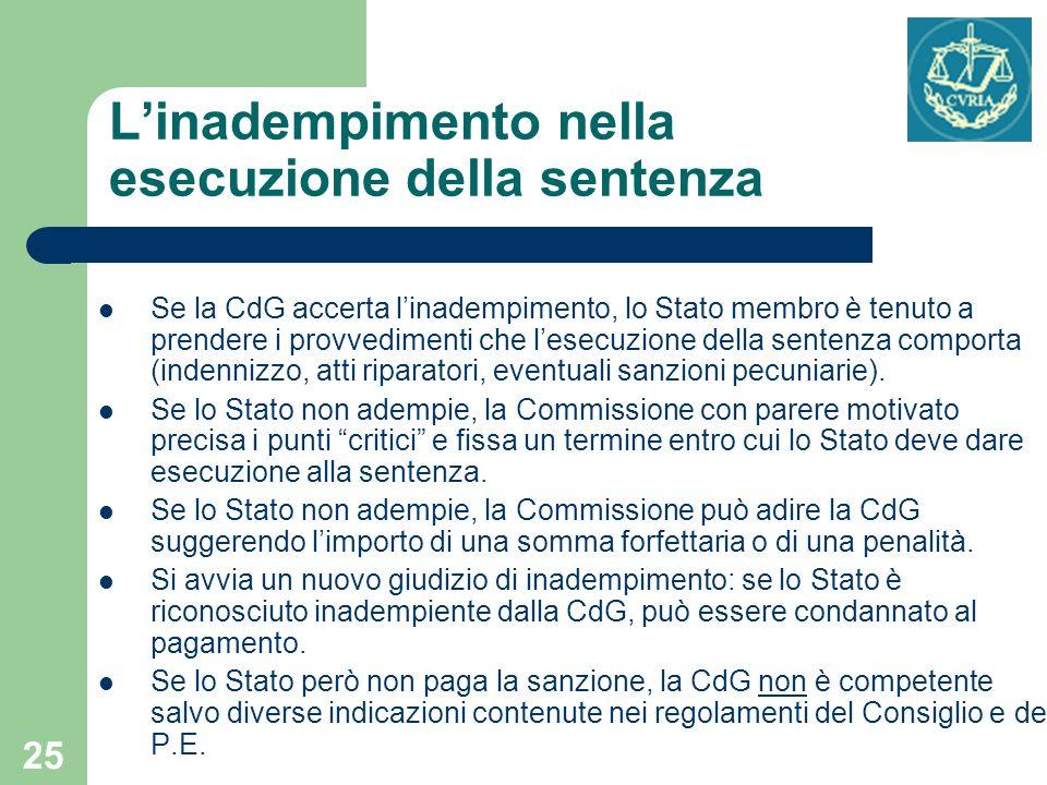 25 Linadempimento nella esecuzione della sentenza Se la CdG accerta linadempimento, lo Stato membro è tenuto a prendere i provvedimenti che lesecuzion