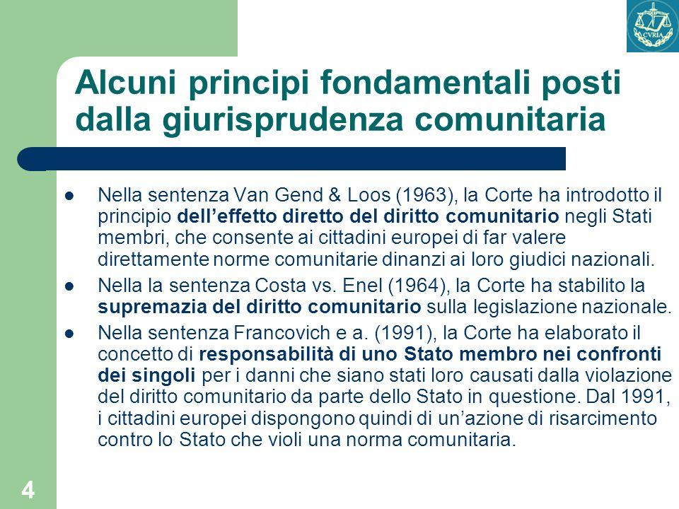 4 Alcuni principi fondamentali posti dalla giurisprudenza comunitaria Nella sentenza Van Gend & Loos (1963), la Corte ha introdotto il principio delle