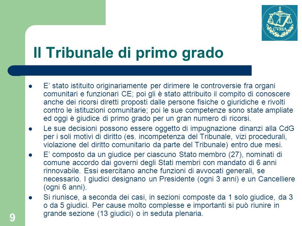 9 Il Tribunale di primo grado E stato istituito originariamente per dirimere le controversie fra organi comunitari e funzionari CE; poi gli è stato at