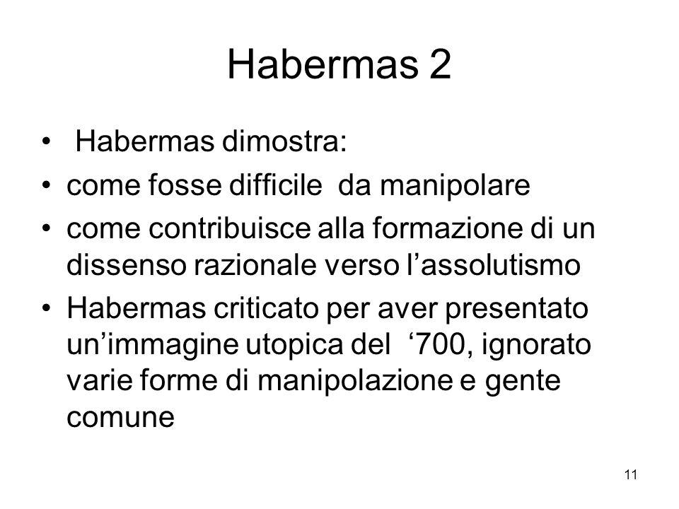 11 Habermas 2 Habermas dimostra: come fosse difficile da manipolare come contribuisce alla formazione di un dissenso razionale verso lassolutismo Habermas criticato per aver presentato unimmagine utopica del 700, ignorato varie forme di manipolazione e gente comune