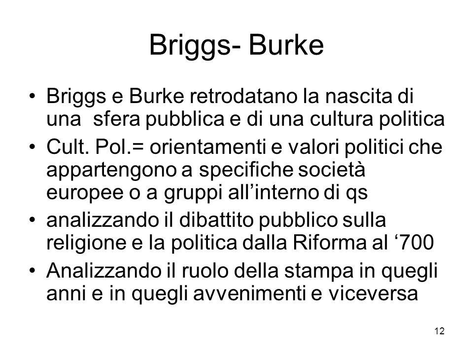 12 Briggs- Burke Briggs e Burke retrodatano la nascita di una sfera pubblica e di una cultura politica Cult. Pol.= orientamenti e valori politici che