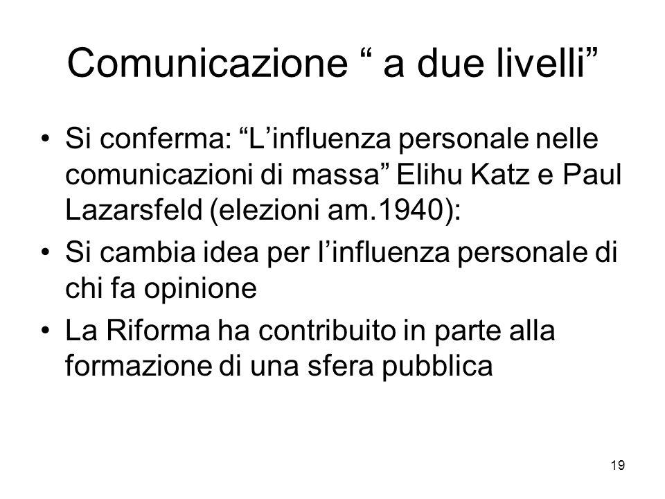 19 Comunicazione a due livelli Si conferma: Linfluenza personale nelle comunicazioni di massa Elihu Katz e Paul Lazarsfeld (elezioni am.1940): Si cambia idea per linfluenza personale di chi fa opinione La Riforma ha contribuito in parte alla formazione di una sfera pubblica