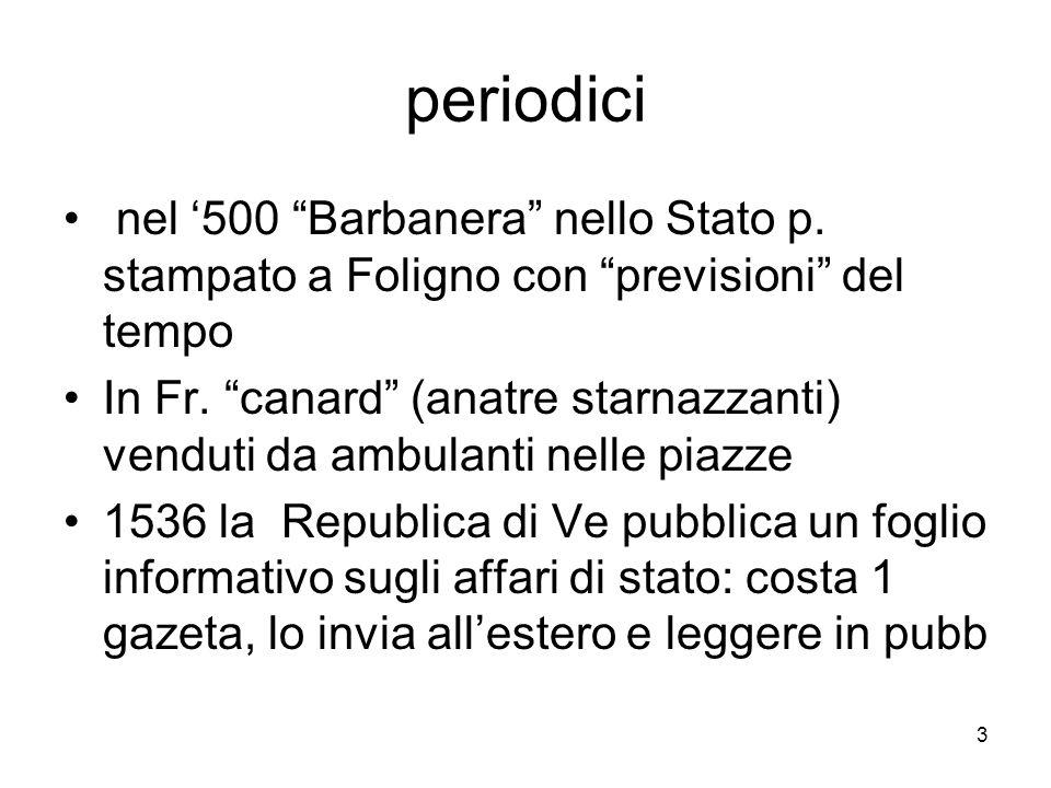 3 periodici nel 500 Barbanera nello Stato p. stampato a Foligno con previsioni del tempo In Fr. canard (anatre starnazzanti) venduti da ambulanti nell