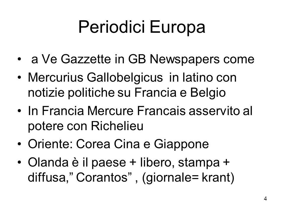 4 Periodici Europa a Ve Gazzette in GB Newspapers come Mercurius Gallobelgicus in latino con notizie politiche su Francia e Belgio In Francia Mercure