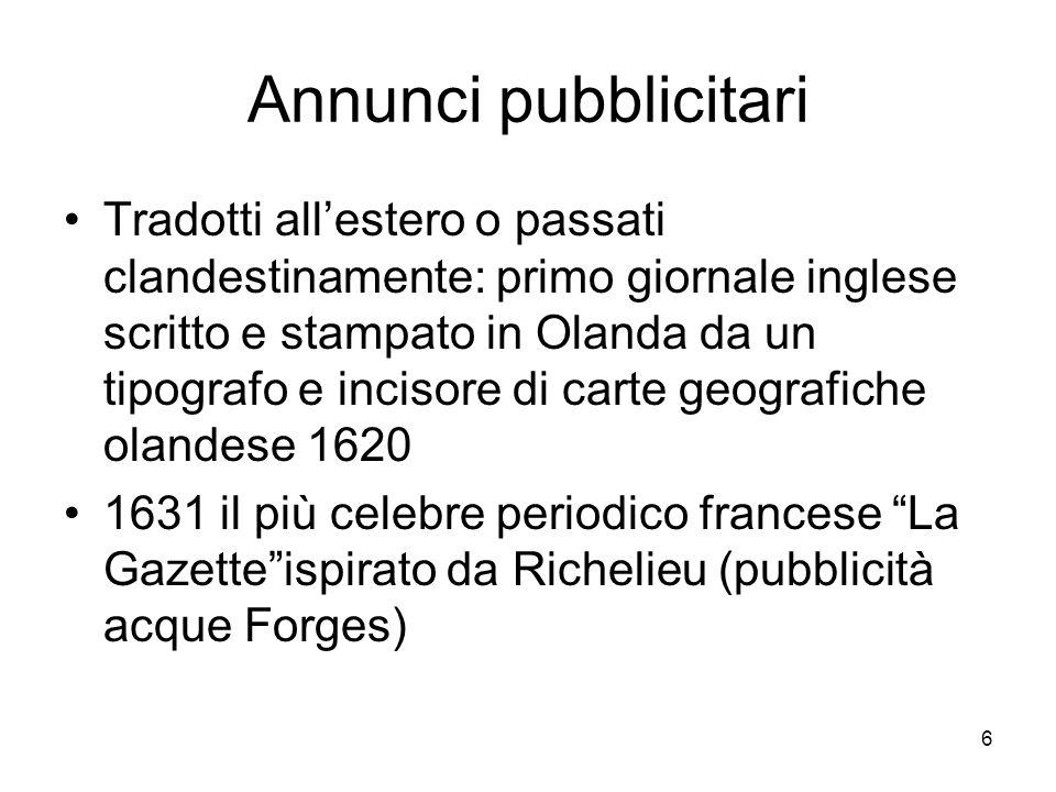 7 quotidiani 1657 Londra primo giornale di ann.pubb.