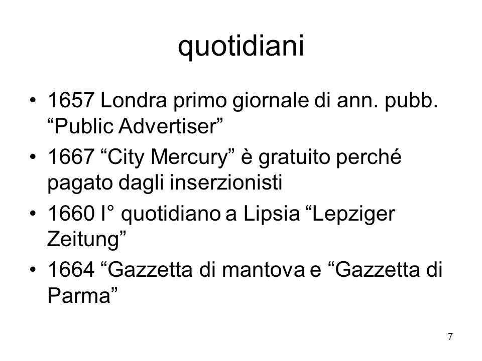 7 quotidiani 1657 Londra primo giornale di ann. pubb.