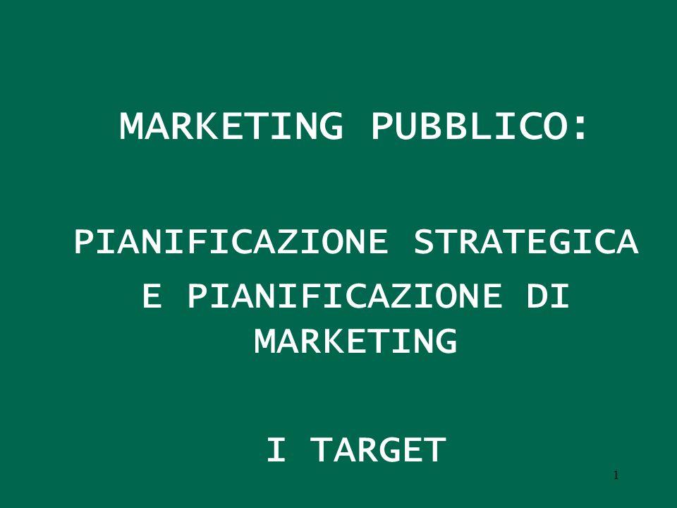 MARKETING PUBBLICO: PIANIFICAZIONE STRATEGICA E PIANIFICAZIONE DI MARKETING I TARGET 1