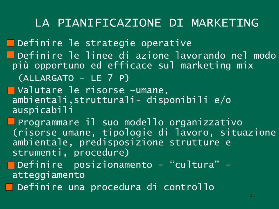 LA PIANIFICAZIONE DI MARKETING Definire le strategie operative Definire le linee di azione lavorando nel modo più opportuno ed efficace sul marketing