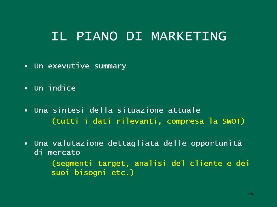 IL PIANO DI MARKETING Un exevutive summary Un indice Una sintesi della situazione attuale (tutti i dati rilevanti, compresa la SWOT) Una valutazione d
